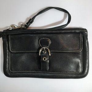 Coach Black Soft Leather Wristlet